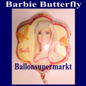 Luftballon Barbie mit Schmetterling, Folienballon mit Ballongas (FHGE Barbie-Luftballon-10809)