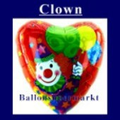 Luftballon Clown, Folienballon mit Ballongas (FHGE222)