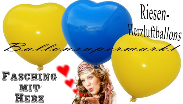 Riesen-Herzluftballons zu Karneval und Fasching