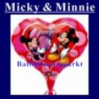 Luftballon Mickey Minnie Love, Folienballon mit Ballongas (FHGE61)