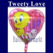 Luftballon Tweety Love, Folienballon mit Ballongas (FHGE-Luftballon-Tweety-Love-45-01)